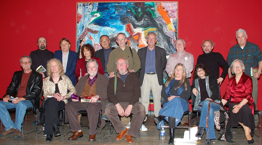 Fresno poets gather at Philip Levine's 80th birthday party in February 2008, at the Fresno Art Museum. Photo by Howard K. Watkins.