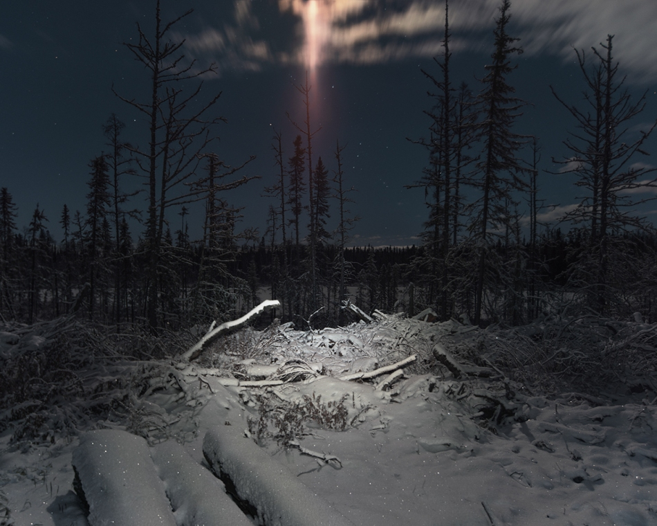 picture taken where i sleep during my roadtrip across Canada, East to West, i park my truck everywhere across the transcanada 1 HY, all are close and out of seasson, quite surreal  Moon lensflare, flashlight,